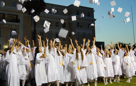 2012 graduates toss their caps in farewell to Academy
