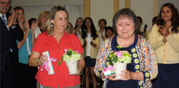 Easter Mass celebrates the Annunciation to Mary and recognizes two retiring teachers and a birthday