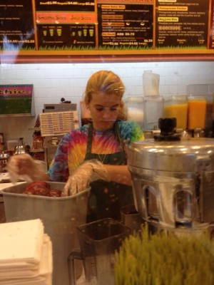 Senior Cristina Snyder working hard making her many customers delicious smoothies.