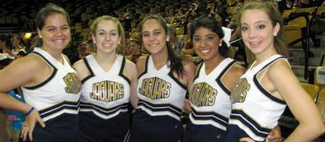 (left to right) Senior dancers and captains Maddie Cahill, Lizzie Emmanuel, Rachel Astorquiza, Natasha Rahim, and Hannah McCarthy
