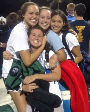 Sophomores Julia Cogdill and Konner Brewer embrace Seniors Shae Timmons and Margret Shumake after getting a thrid place at States