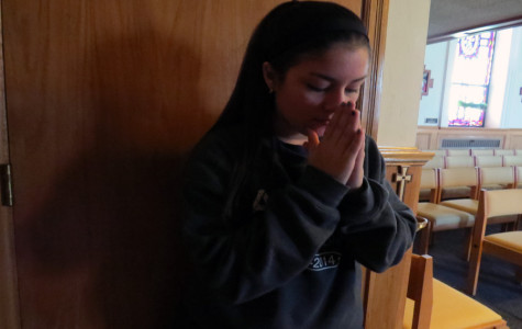 Sophomore Alejandra Lozano taking some time to reflect on the things learned about the Holocaust.