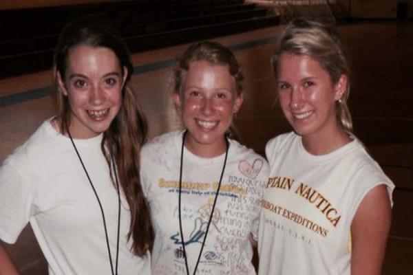 Seniors Hannah McCarthy, Casey Pluchino and Jessica Kandell are all smiles after a full day of working out
