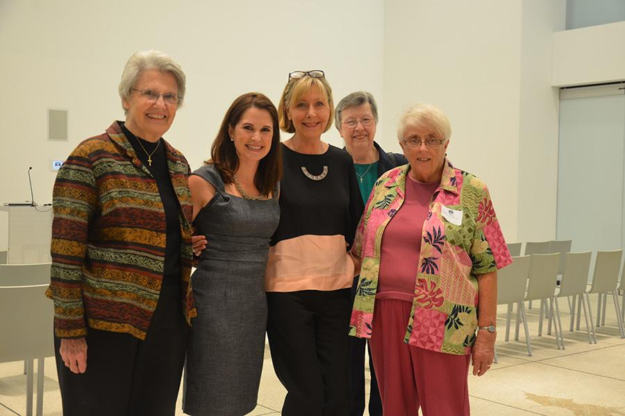 [From left to right] Sr. Mary Glavin, (Visting Artist) Nicole Hockin, (Art Deparment Chair) Sharon West, Sr. Anne Celine Turner, and Sr. Mary Patricia Plumb.