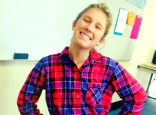 Senior Jessica Kandell shows her enthusiam for pajama day.