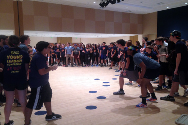 Students participate in a group game at YLC.