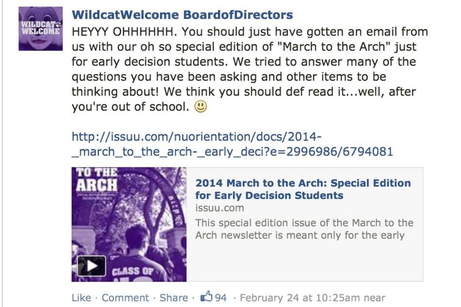 Northwestern University's Welcome Board posts a link to the most recent newsletter for students on their Class of 2018 Facebook page.