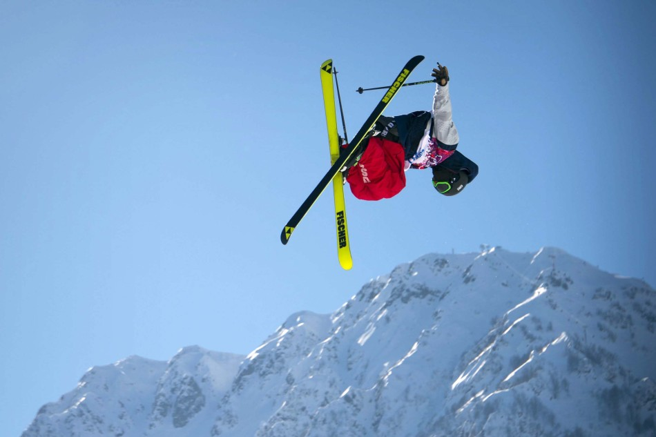 U.S. Freestyle Skier Joss Christensen practices on the slopestyle course in Sochi, Russia.