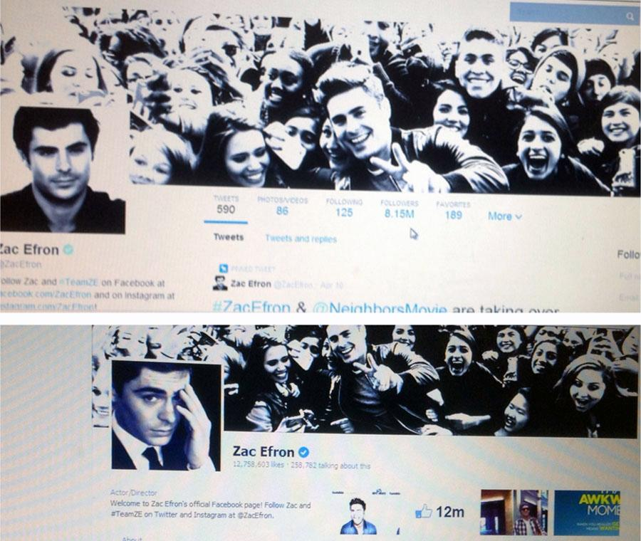 Zac Efron's Twitter (above) and Facebook (below) look more like the same thing