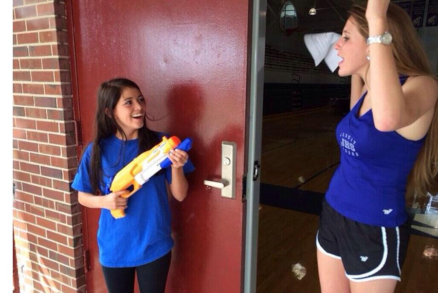 Senior Maggie McNamara shoots Haley Ratchford after Jesuit cheerleading tryouts.