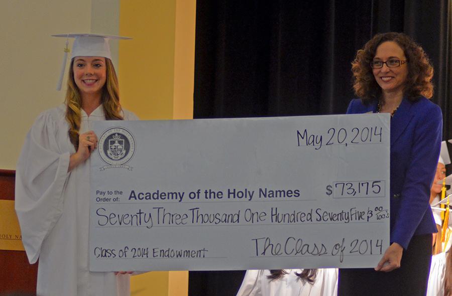 Senior+Class+President%2C+Hannah+McCarthy%2C+presents+the+Senior+Gift+to+Principal+Camille+Jowanna.