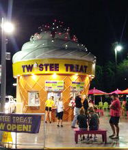 The unique set up of Twistee Treat consist of a cone shaped building.