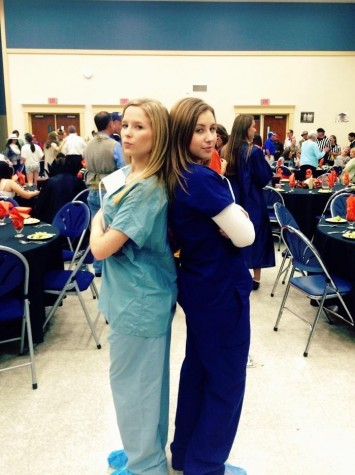 Courtney Farrior and Olivia Mahoney dress up as doctors for mother daughter/ father daughter.