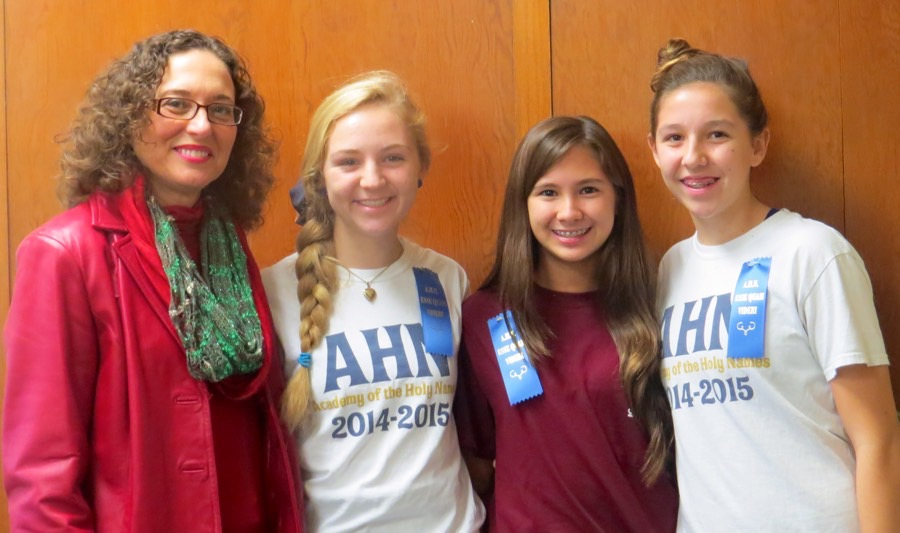 (From left to right) Principal Camille Jowanna, Julia LaVoy, Gabby Galvez, and Emma Heston