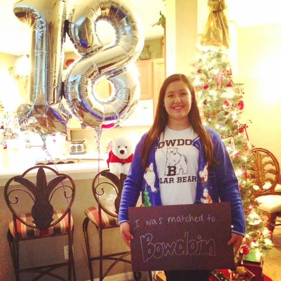 Senior, Amber Orosco proudly wears her Bowdoin t-shirt.