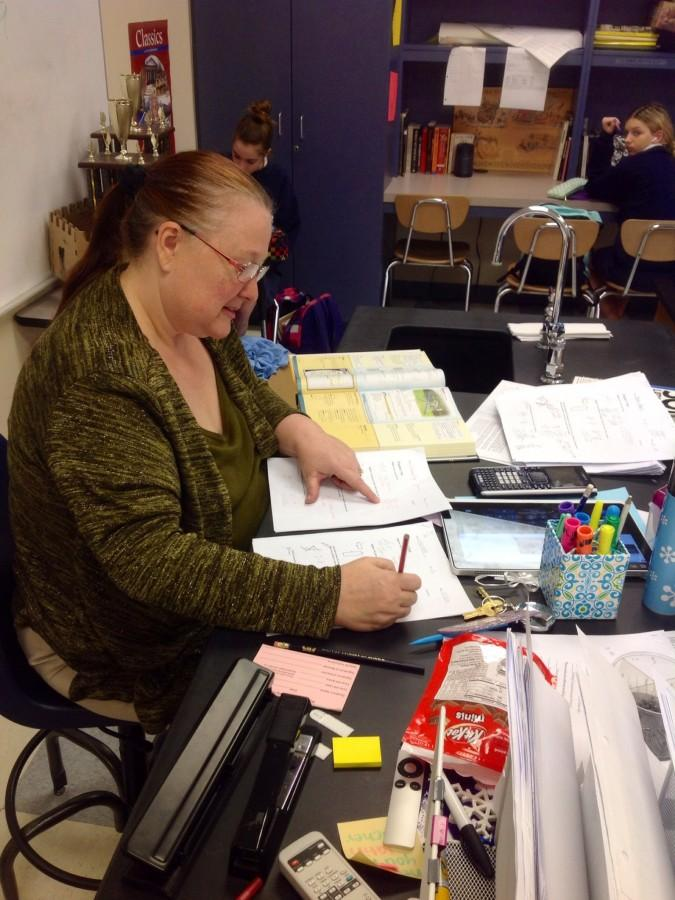 Math teacher Edna Swafford catches up on grading.