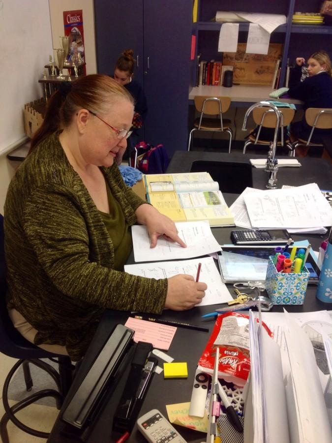 Math+teacher+Edna+Swafford+catches+up+on+grading.+