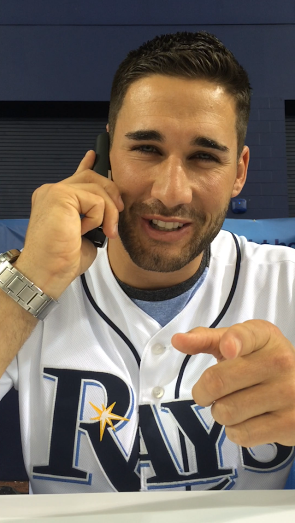 Kevin Kiermaier participating in the Phone-A-Friend event.