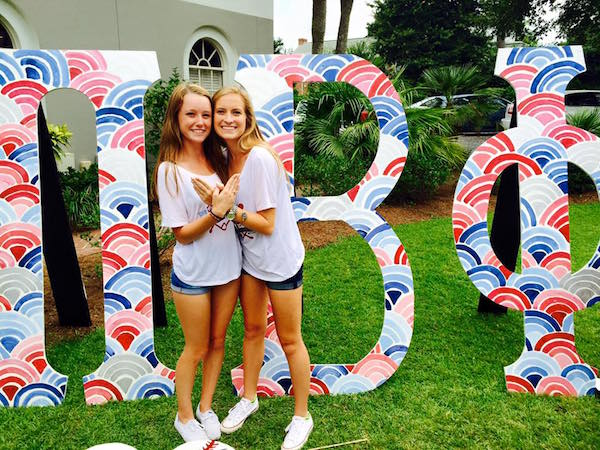 Cara Dawson and new sister at Pi Phi at Florida State