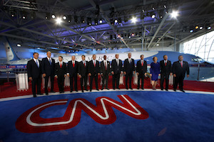 The GOP candidates lined up and ready to start the debate at the Reagan National Library.