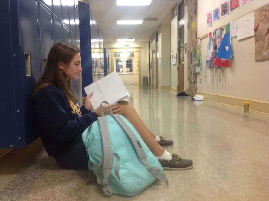Junior Ann-Marie Yatsula uses her extra time on Wednesday Late-Start to go over her notes for her tests of the day