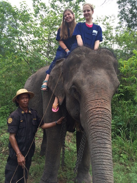 Julia DiFabrizio loved riding the elephants of Thailand while there.