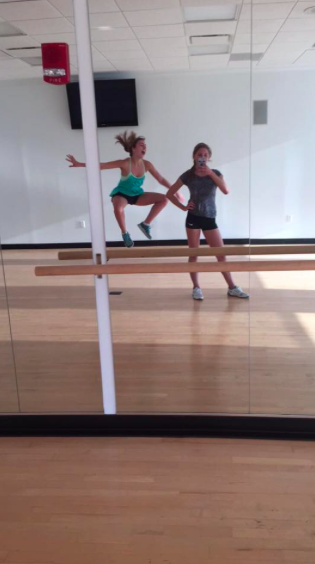 Olivia Kirkpatrick (12) and friend have some fun working out!