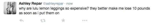 Ashley Repar expresses her feelings about the expenses on LuluLemon leggings to the twitter world