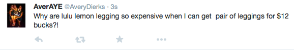 Avery Dierks tweets about the difference between LuluLemon leggings and other cheaper brands