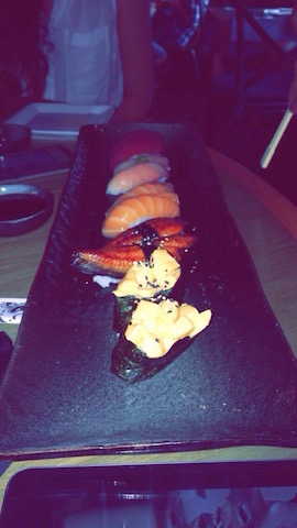 Im a pescatarian, so sushi is my favorite form of seafood, because its healthy choice and it doesnt taste like fishy: it has flavor to it. Credit: Isabella Alfonso