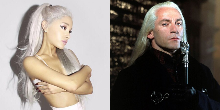 Ariana Grande sports a new hair do, inspired by Lucius Malfoy. She truly is a Potterhead at heart!