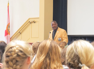 Derrick Brooks shared his thoughts on character with the Academy students along with funny stories about his childhood.