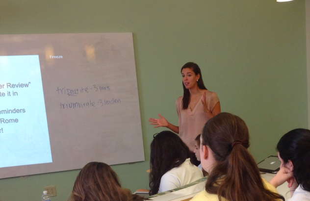 Filocco teaching her freshman Civics class in the recently added iLab.