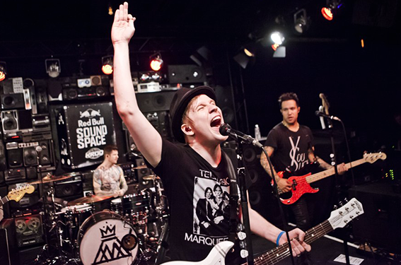 Fall Out Boy performing at the 97x Next Big Thing 2014 concert singing their popular and empowering song