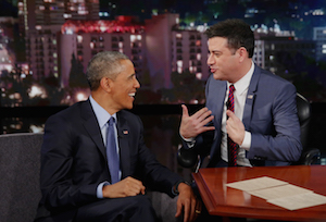 President Barack Obama takes time to join Jimmy Kimmel on his late night talk show.
