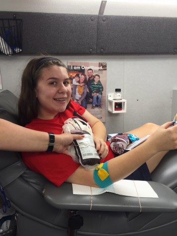Junior, Liz Benjamin, after donating blood for the first time!
