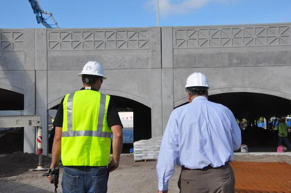Raimo and the supervisor Jay  walking onto the construction to check the process of the construction site.  Photo Credit: Riley Gillis