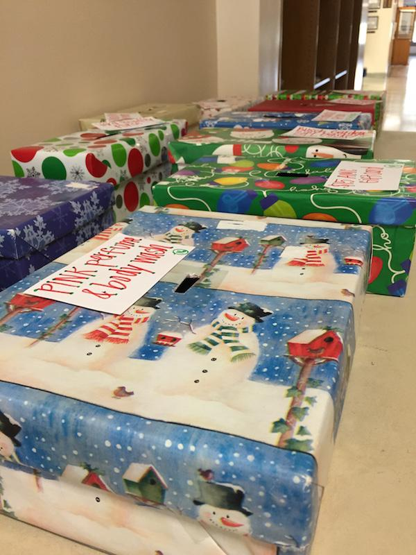 These festive Christmas Raffle boxes can be found outside of Mrs. Hathaway's office.