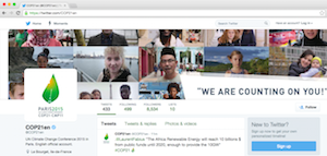 A view of COP 21's English Twitter page. It provides daily updates and information on progress being made at the summit.