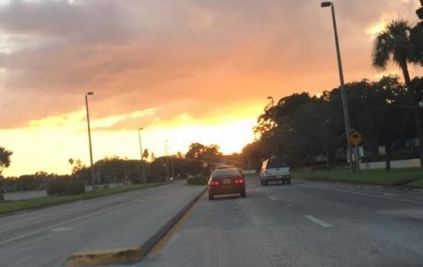 Car rides are a great time to watch the sun set!