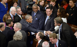 President Barack Obama arriving before Congress to give his final State of the Union Address