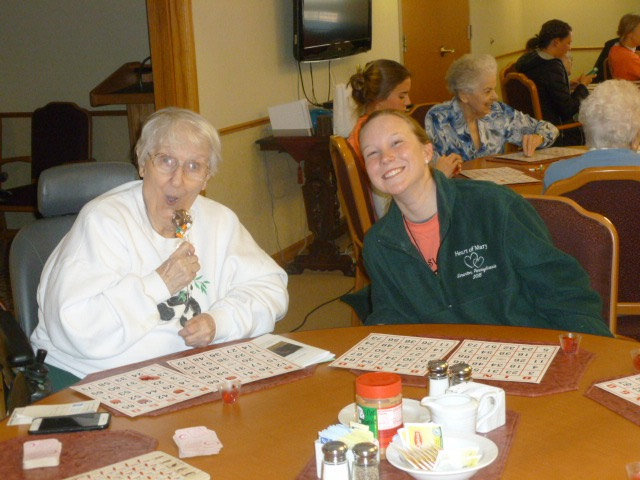 Marquart and  and IHM Sister at Our Lady of Peace Residence. Marquart shared she has been very blessed in her life, and really wanted to help others by sharing her blessings.  Credit: Sister Lisa Perkowski  (used with permission)