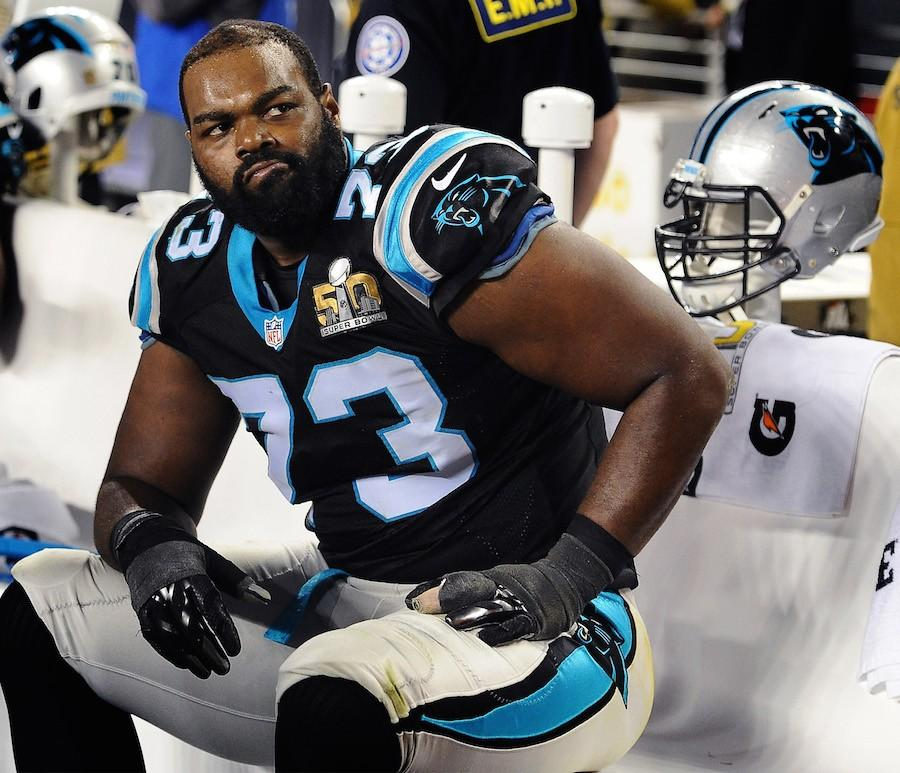 Carolina+Panthers+offensive+tackle+Michael+Oher+sits+on+the+team%27s+bench+during+the+fourth+quarter+against+the+Denver+Broncos+in+Super+Bowl+50+at+Levi%27s+Stadium+in+Santa+Clara%2C+Calif.%2C+on+Sunday%2C+Feb.+7%2C+2016.+The+Broncos+won%2C+24-10.+