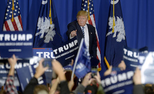 Donald Trump holds a rally in South Carolina before the Republican primary on February 20.