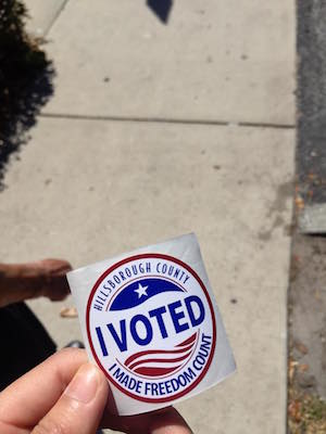AHN Senior Pia Roca was excited when she voted for the first time in this year's Florida Primary elections!