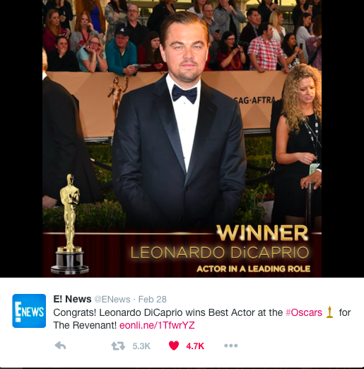 Credit: Twitter/@ENews Leonardo DiCaprio finally won his first Oscars at the 2016 88th Academy Awards