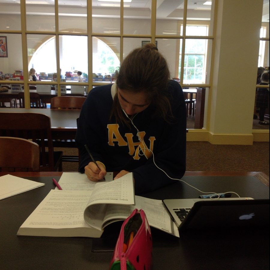 Junior, Lindsey Calka, a hardworking student has been studying for the APUSH exam coming up in a few weeks.