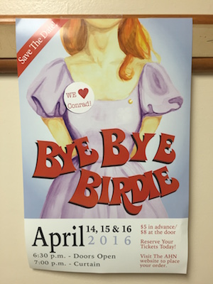 Posters advertising Bye-Bye Birdie are scattered all around the school inviting students to support their friends and have  good time!
