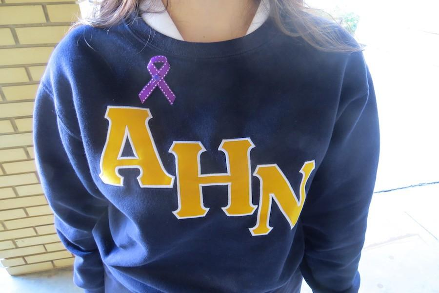 The+color+purple+represents+domestic+violence+and+abuse.+Dohme+passed+out+purple+ribbons+to+Academy+students+in+an+effort+to+spread+awareness.