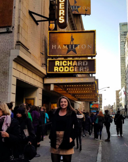 Junior Lexie Diez shows her excitement before entering the Richard Rogers Theater to see the show. Credit: Lexie Diez  (used with permission)
